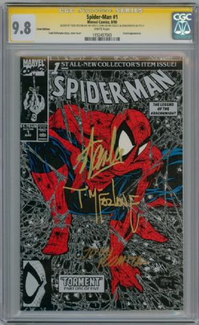 Spider-man #1 Silver Variant 1990 CGC 9.8 Signature Series Signed x3 Stan Lee Todd McFarlane Romita